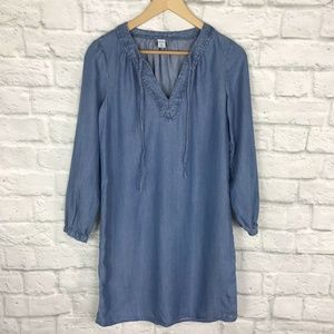 Old Navy XS Chambray Shift Dress 3/4 Sleeve Blue